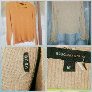 BCBGMaxAzria tan v-neck zipper sleeves sweater